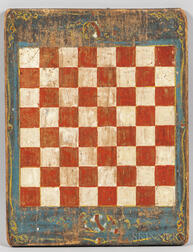 Small Painted Pine Checkers Game Board