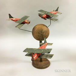 Carved and Painted Wood and Tin Biplane Whirligig
