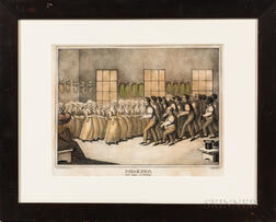 "Hand-colored ""Shakers, their mode of Worship"" Lithograph"