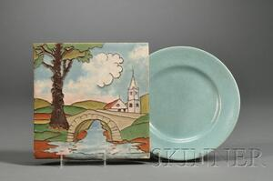 American Encaustic Tile and a Paul Revere Pottery Plate