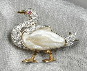Edwardian Freshwater Pearl and Diamond Duck Brooch
