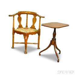 Queen Anne Maple Roundabout Chair and Federal Cherry Tilt-top Candlestand.     Estimate $200-400