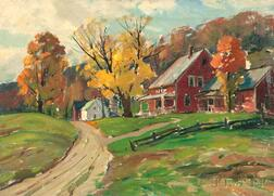 Aldro Thompson Hibbard (American, 1886-1972)      Autumn Landscape with Red Farmhouse