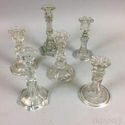 Six Sandwich-type Colorless Glass Candlesticks