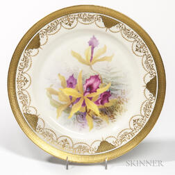 Set of Twelve Lenox Porcelain Hand-painted Orchid Plates