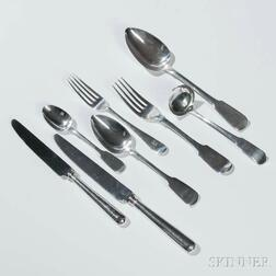 "Assembled British ""Fiddle"" Pattern Sterling Silver Flatware"