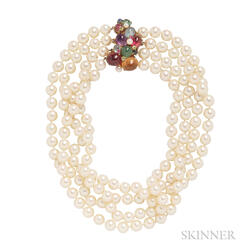 Cultured Pearl Four-strand Necklace