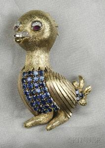 14kt Gold Gem-set Baby Bird Brooch