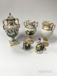 Pair of Sevres-style Porcelain Urns and Two Pairs of Meissen Urns