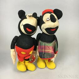 Lenci Felt Mickey and Minnie Mouse Dolls