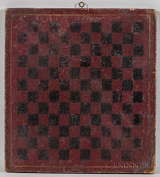 Maroon and Yellow-painted Double-sided Mill and Checkers Game Board