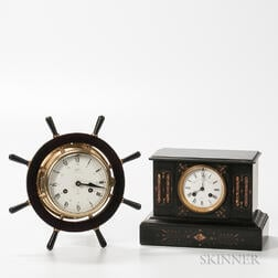 Schatz Ship's Bell and Belgian Slate Mantel Clock