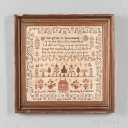 Dated 1815 Charlotte Barnes Needlepoint Sampler