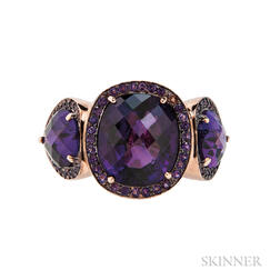 14kt Rose Gold and Amethyst Three-stone Ring