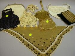 Seven Assorted Lady's Purses and a Mesh Neckerchief