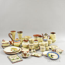 Thirty-four Mostly Watcombe Torguay Pottery Mottoware Items.