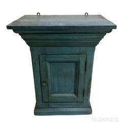 Country Blue-painted Pine Hanging Cupboard