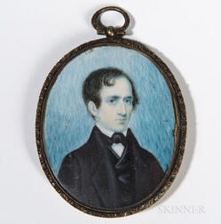American School, c. 1830      Miniature Portrait of a Man in a Black Jacket