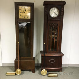 Two Oak German Tall Clocks