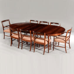 "Ole Wanscher for AJ Iversen Brazilian Rosewood Dining Table and Eight ""Forum"" Chairs"