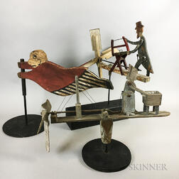 Three Polychrome Carved Wood Whirligigs