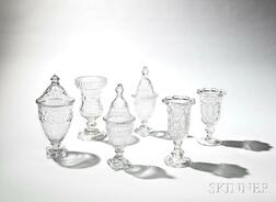 Six Pieces of Colorless Cut Glass