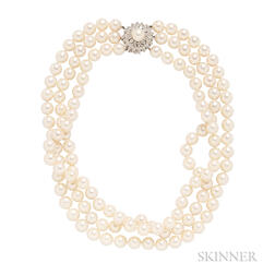 Cultured Pearl Triple-strand Necklace