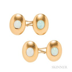 14kt Gold and Opal Cuff Links