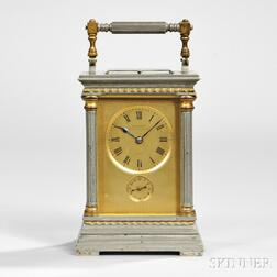 Drocourt Silvered Brass Anglaise Riche Carriage Clock