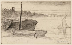 James Abbott McNeill Whistler (American, 1834-1903)      Chelsea Bridge and Church