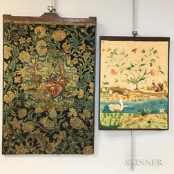 Figural and Floral Needlepoint Panel and a Crewelwork Panel