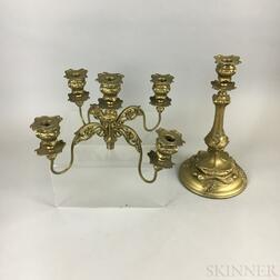Barbour Silver Co. Art Nouveau Gold-painted Five-light Candelabra