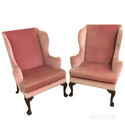 Pair of Williamsburg Restoration Chippendale-style Carved and Upholstered Mahogany Wing Chairs.     Estimate $300-500