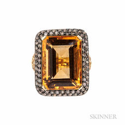 18kt Gold, Citrine, Yellow Sapphire, and Diamond Ring