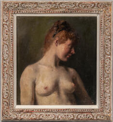Russian or Eastern European School, 20th Century      Half-length Nude
