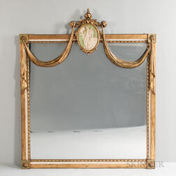 Large Neoclassical-style Giltwood and Paint-decorated Mirror