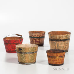 One Sponge- and Four Stencil-decorated Pails
