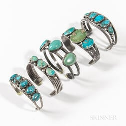 Five Navajo Silver and Turquoise Bracelets