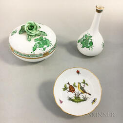 Herend Porcelain Bud Vase, Dish, and Covered Box
