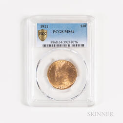 1911 $10 Indian Head Gold Coin, PCGS MS64.     Estimate $800-1,200