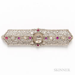 14kt White Gold, Carved Moonstone, Ruby, and Diamond Filigree Brooch