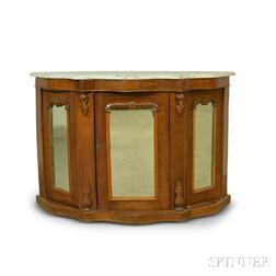 Mahogany Marquetry Marble-top Cabinet