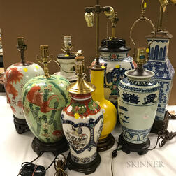 Eight Chinese Jars Converted to Lamps