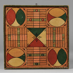 Polychrome Paint-decorated Parcheesi Game Board