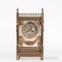 Aesthetic Movement Brass and Onyx Mantel Clock