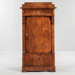 Biedermeier Fruitwood-veneered Tall Cabinet