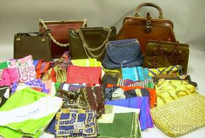 Group of Miscellaneous Vintage and Designer Purses and Scarves
