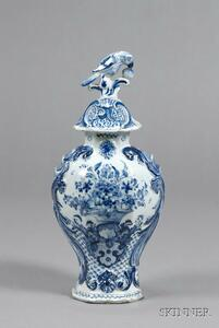 Dutch Delft Blue and White Vase and Cover