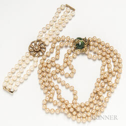 Triple-strand Cultured Pearl Bracelet and a Faux Pearl Necklace