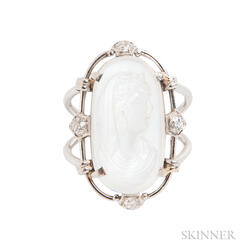 Platinum, Moonstone Cameo, and Diamond Ring